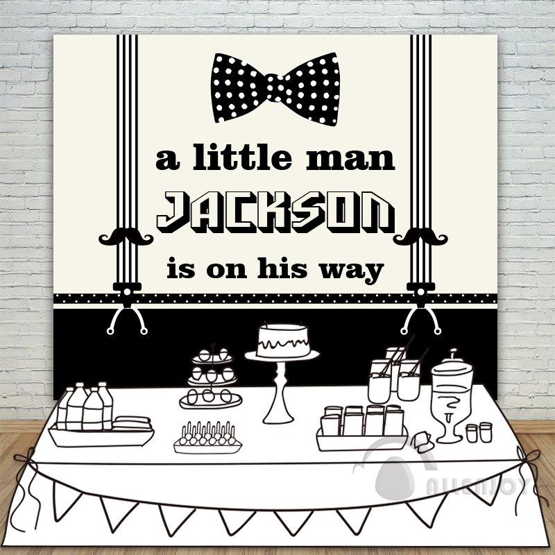 Allenjoy Little Boy Backdrop Baby Shower 1st Birthday Invitation celebration Party Black Bow Circle Banner photocall Background<br>
