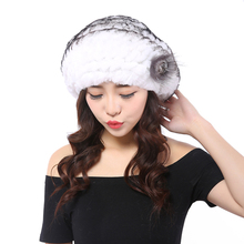 YWMQFUR 2017 New hot fur cap guarantee 100% natural authentic Rex rabbit fur hat knitting winter lady hat hat warm beret H10