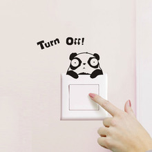 1Pcs 18*10cm Turn Off Panda Wall Sticker Decoration for Home Room Decor diy Wall Decals posters Decorative stickers muraux 45209