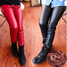 High Quality girl pu leather winter legging flower warm legging autumn winter thick trousers pants 3-10 years