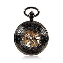 Mens Antique See Through Case Skeleton Mechanical Black Pocket Watch Men Clock With Chain Watches Reloj De Bolsillo