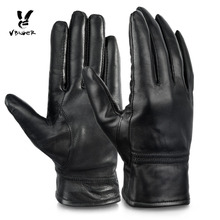 VNIGER Women Genuine Leather Gloves Full-finger Winter Warm Gloves with Fleece Lining Wear for Bicycling Driving Motorcycling(China)