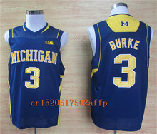 Nike 2017 Wolverines Trey Burke 3 Big 10 Patch College Football Limited Boxing Jersey - Yellow Size S,M,L,XL,2XL,3XL(China)