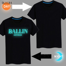 "DLVIRA S-3XL New T shirt ""BALLIN AMSTERDAM"" Women&Men Letter Print T-shirts 2017 Cotton Casual    Luminous Tee Shirt"