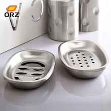 ORZ 2 Pcs/Set Stainless Steel Soap Box Soap Dishes Holder Bathroom Storage Rack Holder Set(China)