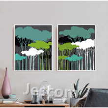 framed picture painting 2pcs green bright coloured trees wall art for living room sofabackground decor ready to hung top quality