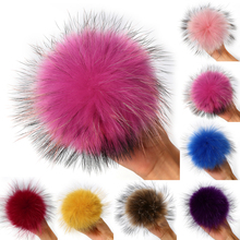 12-13cm Trinket raccoon fur ball DIY keyrings Raccoon Fur Pom Pom Ball for shoes Winter hats caps clothes accessories