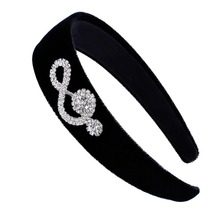 Winter Warm Headband Hair Accessories Musical Note Bow Wide Head Band Girls Headdress Hoop Black Hairbands for Women HB049(China)