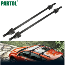 Partol 120CM Adjustable Universal Car Roof Rack Cross Bars Crossbars Anti-theft Lock 75kg 165LBS Cargo Luggage Snowboard Carrier(China)