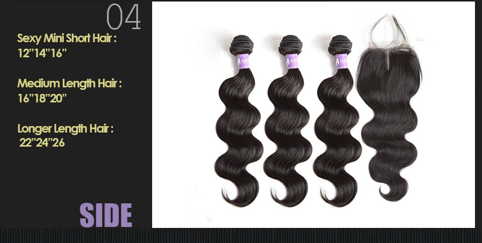 Brazilian Body Wave Hair 3Bundles Human Hair Weave Bundles Hair Weft With Closures With Bundles Alimice Non Remy Hair Extensions (16)