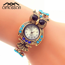 Vintage Quartz Watches Luxury Brand Owl Fashion Women Bracelet Watch Gold Rhinestone Watches Beautiful Girl Gift Watch
