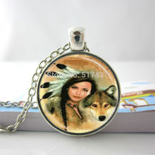 Fashion Necklaces For Women 2014 Wolf Necklace Native American Woman with Wolf Glass Tile Jewelry Necklace Glass Dome Pendant