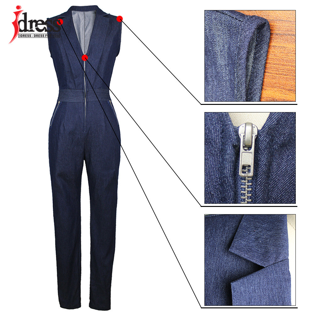 IDress Women Jeans Jumpsuit Denim Long Pants Sexy Deep V Neck Slim Overalls Jumpsuit Girl Sleeveless Club Wear Bodysuit Romper (3)