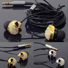 Diamond Skull stylish earphone new style sports in-ear earphones earbuds for smart phone and mp3 player and retailbox