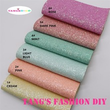 6pcs--20x22cm fluo light color CHUNKY GLITTER LEATHER/Synthetic leather can choose color