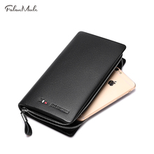 Hot Sale Wallet Fashion Male Clutch Genuine Leather Men Wallet Luxury Purse Leather Wallet Men Clutch Bag Phone Card Holder(China)