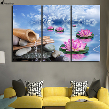 HD printed 3 piece canvas art Blue Sky Lotus water painting wall pictures for living room posters Free shipping/ny-5870