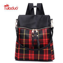 7f23b1eb4476 Designer Plaid Women Backpacks Double Zipper School Bags for Teenager Girls  Panelled Female Shoulder Bags Casual