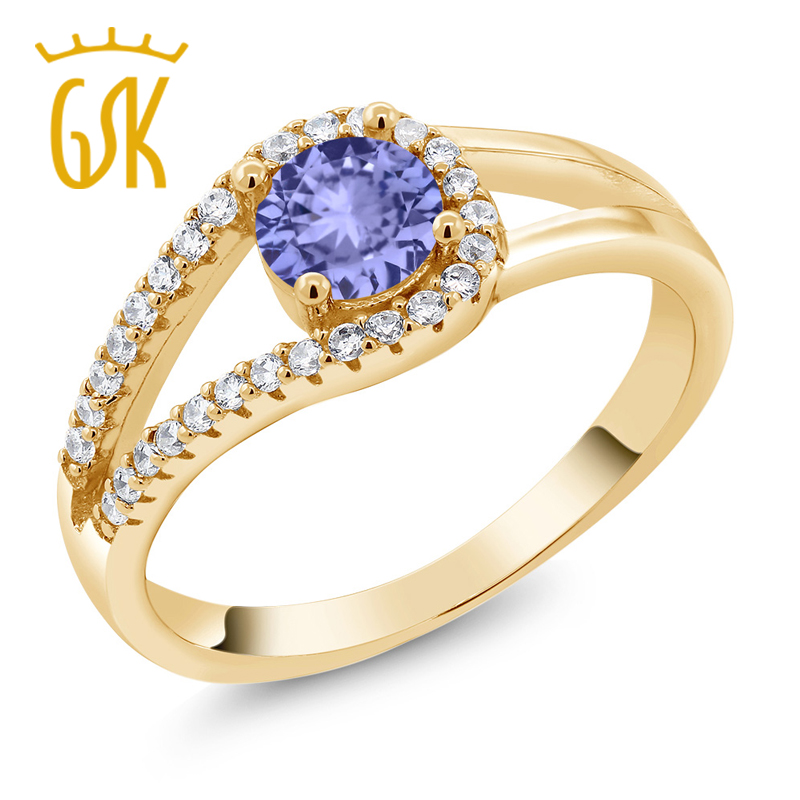 Gem Stone King Round Blue Tanzanite Rings 18K Yellow Gold Plated Silver Ring White Diamond Fashion Trendy Women Rings(China (Mainland))