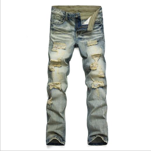 Mens casual holes Distressed ripped Jeans for Men TornDenim Pants Male New Fashion Garment Washed skinny biker punk Jeans J031Îäåæäà è àêñåññóàðû<br><br>