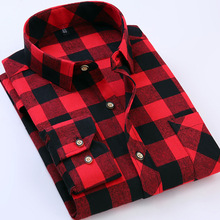 New Flannel Men Plaid Shirts 2017 Red Autumn Luxury Slim Long Sleeve Brand Fashion Black Warm Casual Shirts Plus Size Clothing(China)