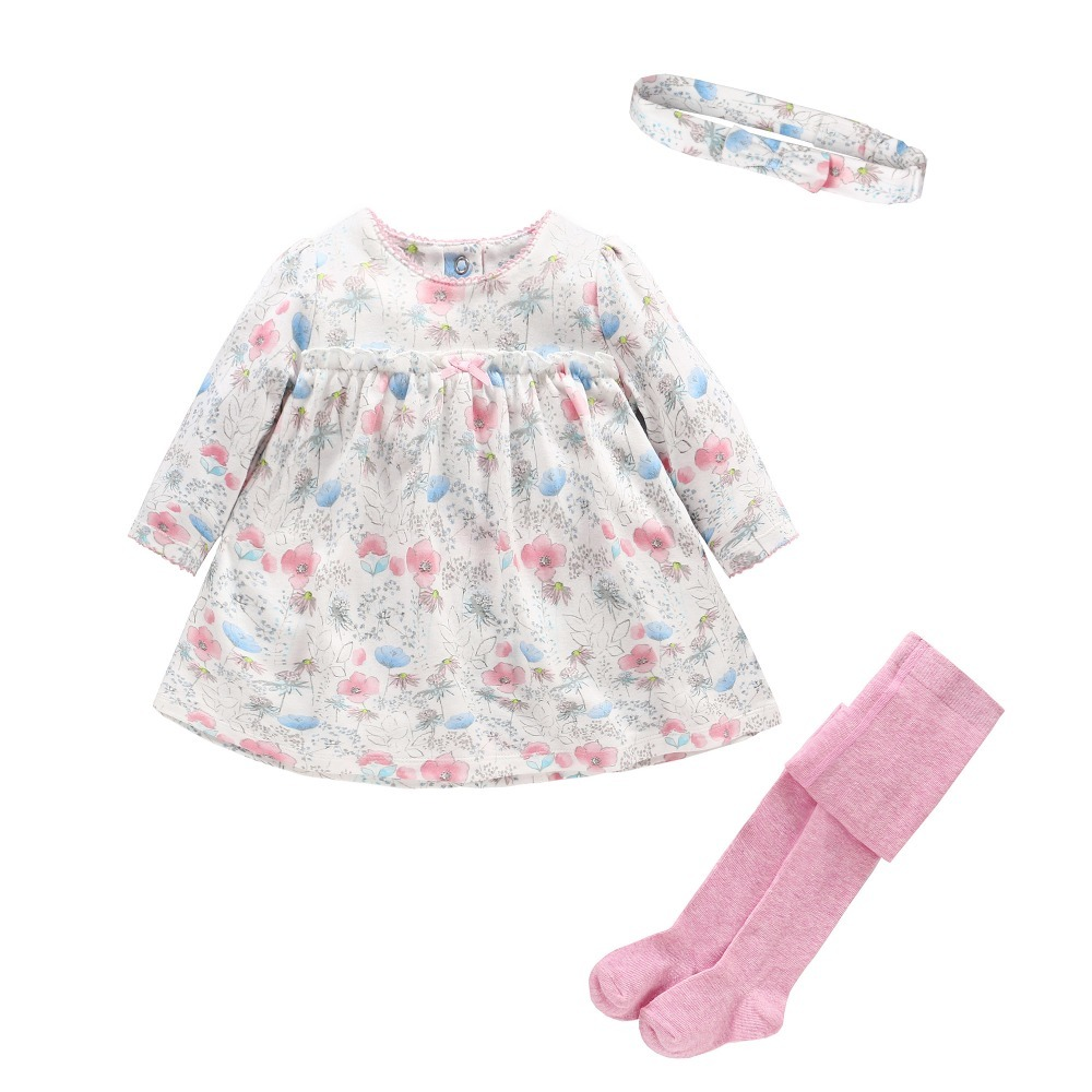 2017 Baby girls sets Long sleeves baby girl clothes Floral O-neck baby dress 3pcs/lot snug Infant Pantyhose Baby Headband romper<br>