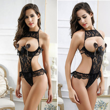 2017 New sexy lingerie hot women teddy black exposed breast bra with Steel prop lace Lenceria Erotica Intimates sexy costume