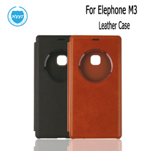 For Elephone M3 Leather Case Phone Cases View Window Flip Cover For Elephone M3 Cell Phone 2 Colors Screen Protector(China)