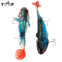 2pcs/lot Luminous T Tail Lead Fishing Lures Soft Bait With 2 Treble Hooks 11.5cm 39g Outdoor Night Fishing Equipment(China)