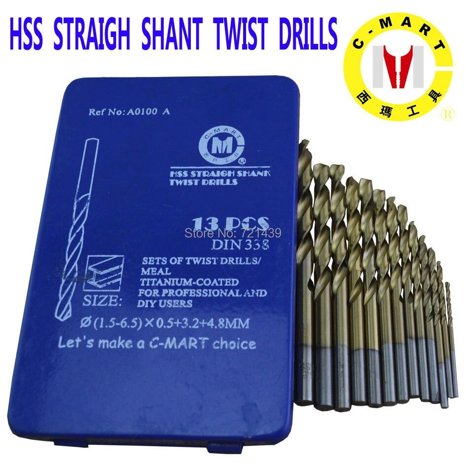C mart tools 13 pcs cobalt hss twist drill bits set metal drilling diy tools