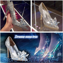 Movie Cinderella Wedding Party Diamond Jimmy Ladies' Pumps Crystal High Heels Shoes Czech Diamond SILVER RED 2015 Add Size US9(China)