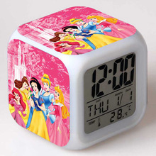 Princess Snow White Cinderella PVC Action Figure LED Colorful Glow Touch Light Alarm Clock Kids Toys Birthday Gift