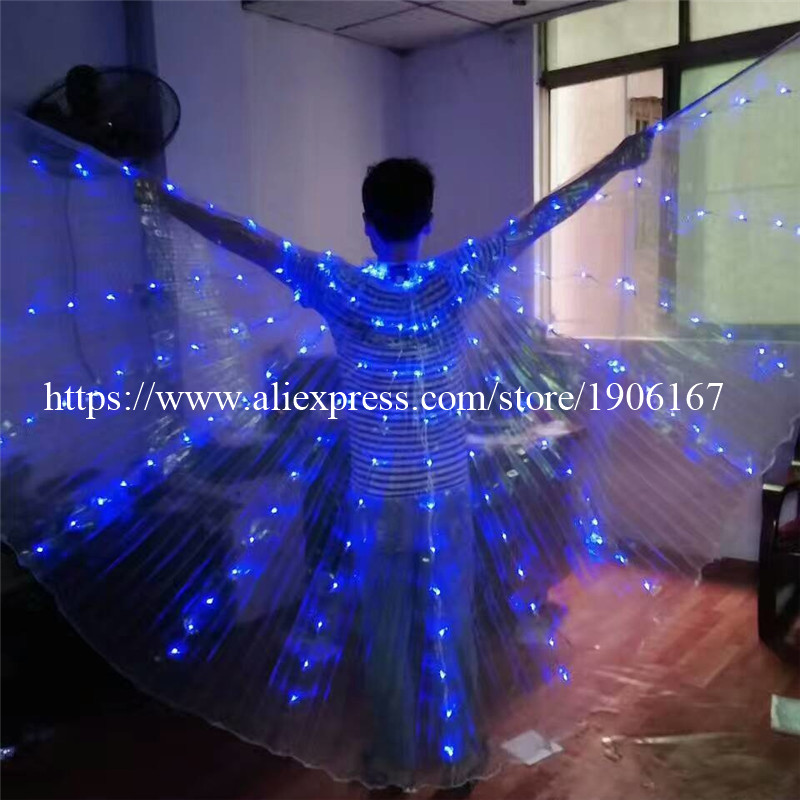 2017 Stafe Performance Prop Women Dancewear Girls DJ LED Wings Light Up Wings Belly Dance Wing Costume05