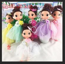 12pcs 2017 New Korean styles doll fashion wedding dress models wedding doll key chains girls Toys for Children's day Gift