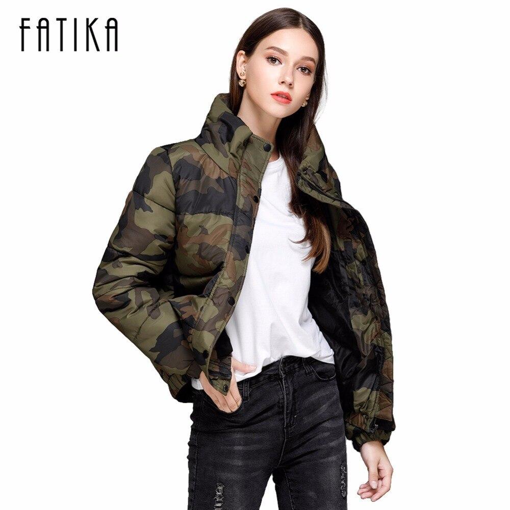 FATIKA 2017 Autumn Winter Back Letter Print Camouflage Women Padded Jacket Parka Warm Outwear Coats Wadded Army JacketsÎäåæäà è àêñåññóàðû<br><br>