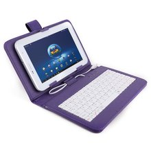 "GTFS-Color Purple Cover faux leather + MICRO USB keyboard Jack + Universal support for Tablet PC 7 ""7 inch apad epad Station(China)"