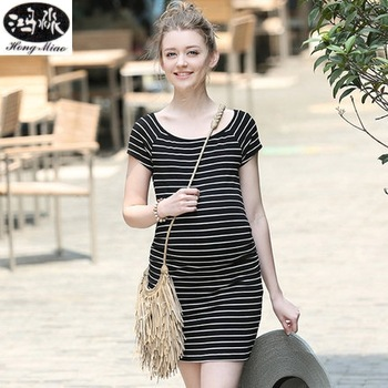 Summer maternity dress casual large size loose comfortable striped Dresses for pregnant women Slim Dress Maternity clothes