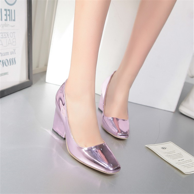 Square Heels Women Shoes Slip On Office Lady Pumps Patent Leather Shallow Mouth Chuncky Punk Style Party Pumps  size33-40<br><br>Aliexpress