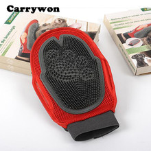 Carrywon All Pets Suitable Hair Comb Cleaning Brush Animal Dog Shower Grooming Massage Hair Removal Dogs Red Bath Glove(China)
