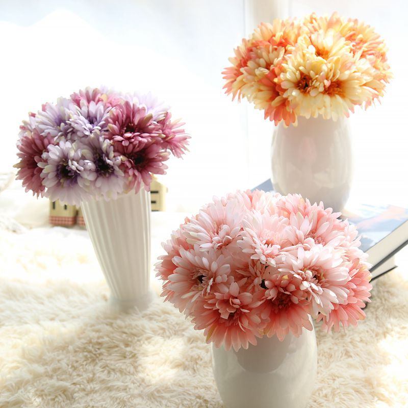 7pcs/Bunch Artificial Silk Flowers Gerberas Flowers for Home Decoration Wedding Bouquets(China (Mainland))