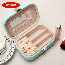 Candy Color Women Gift Jewelry Box Makeup Organizer Faux Leather Case with Mirror and Lock Cute Jewelry Organizer UIE392