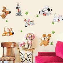 Color Happy Dog Cartoon Wall Stickers Kids Rooms Stikers Mural Children Bedroom Papillon Vinyl Infant Decoration Home Decor(China)