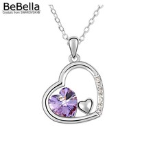 BeBella heart in heart pendant necklace Made with Austrian crystals from Swarovski for women 2017 gift