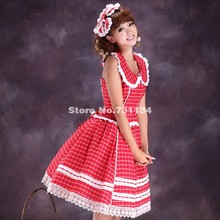 2016 New Arrival Classic Lolita Red Plaid Halter Waistcoat Sweet Dress(China)