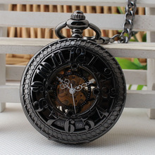 Tungsten Steel Black Automatic Mechanical Pocket Watch Elderly Digital Antique Ttable Father 's Day Gift 3JX203