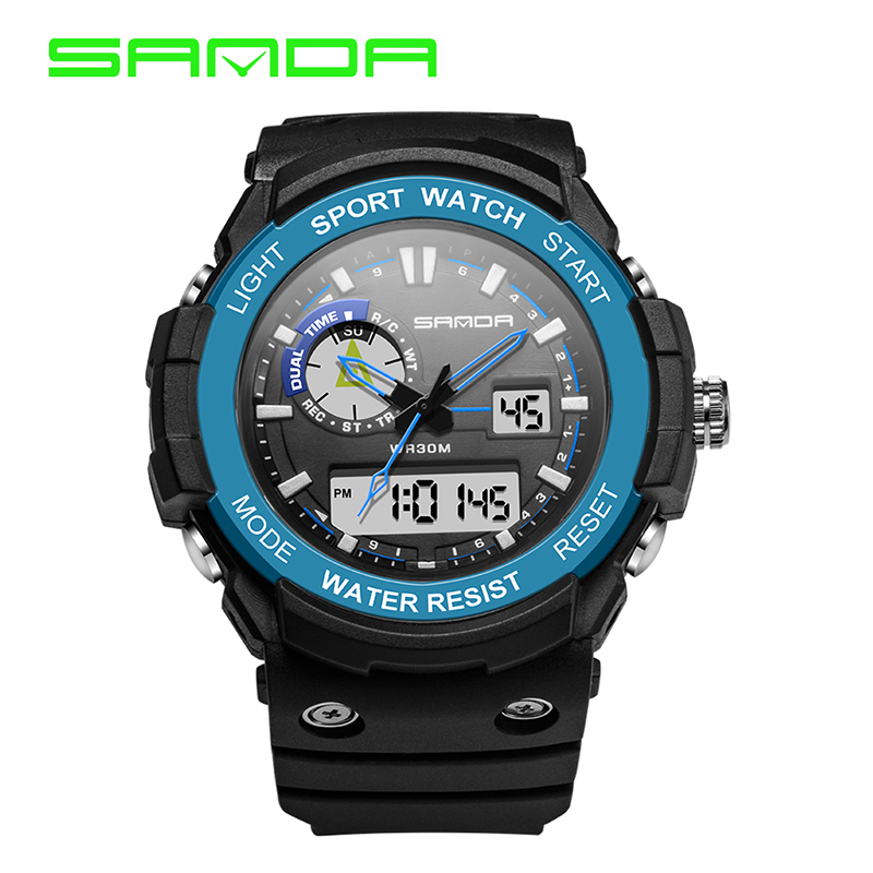 SANDA Men Sports Watch Fashion Casual Mens Watch Digital Analog Alarm Waterproof Military Multifunctional Man Wrist Watches<br><br>Aliexpress