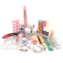 2016 New Acrylic Nail Kit Clear Pink White Acrylic Powder Liquid Brush Nail Kit Glitter Clipper File Glue Nail Art Tips Set Kit