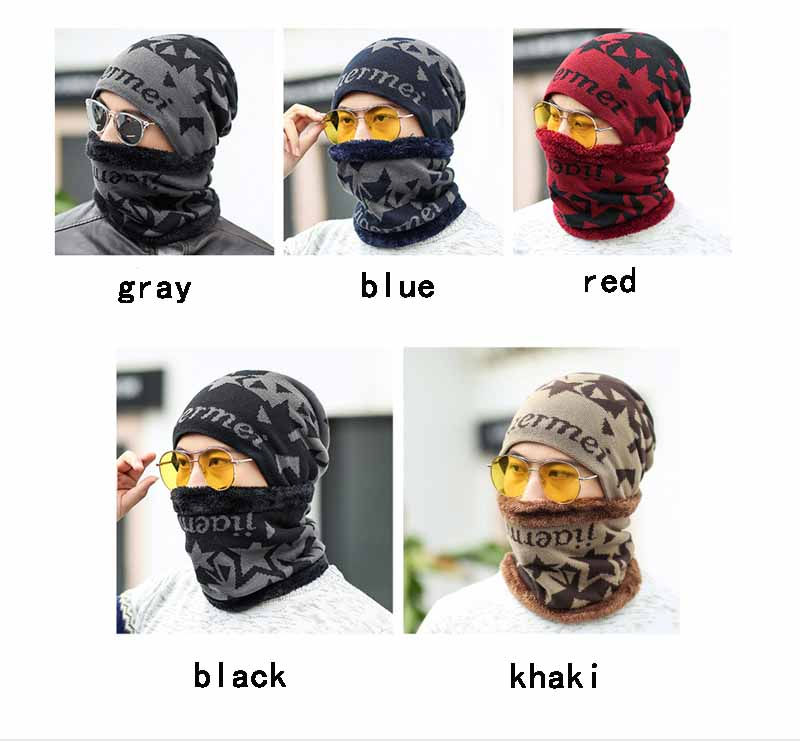 Ymsaid Set Male Sheep Knitted Hat Winter Hat Beanies For Men Women Cap Cold Thermal Muffler Scarf New Year Father Gfit
