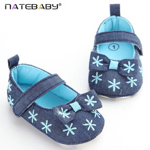 Natebaby Foreign Trade Jeans Embroidered Baby Shoes Soft Soled Shoes Toddler Shoes Princess Shoes NA1539