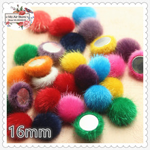 50pcs mix color Flatback hairy Fabric Covered round Buttons Home Garden Crafts Cabochon Scrapbooking DIY 16mm